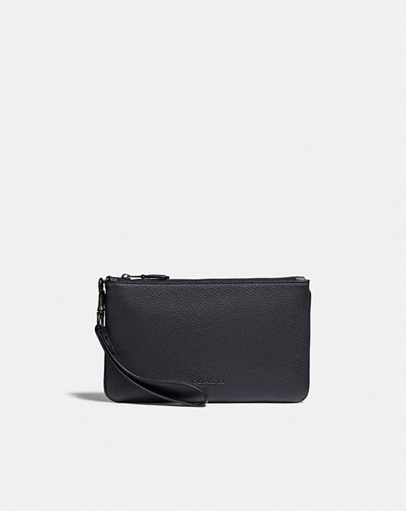 Coach PHONE POUCH WITH SIGNATURE CANVAS BLOCKING
