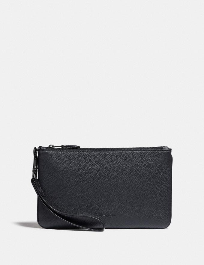 Coach Phone Pouch With Signature Canvas Blocking Charcoal Men Edits Work