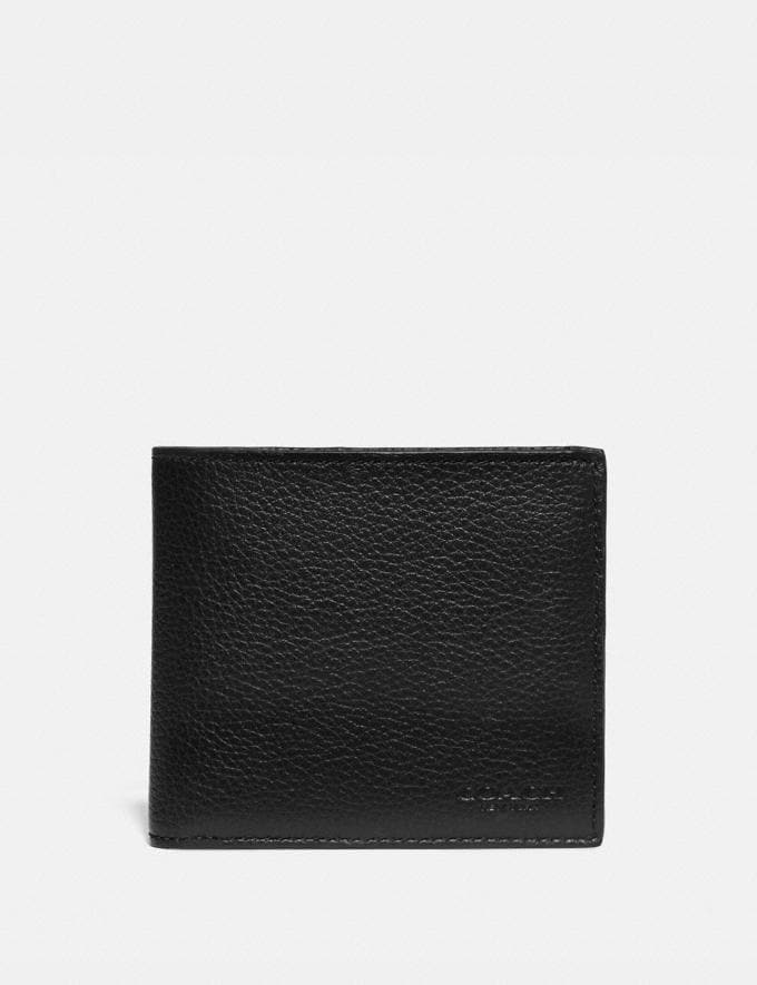 Coach Double Billfold Wallet With Signature Canvas Blocking Black/Khaki Men Wallets