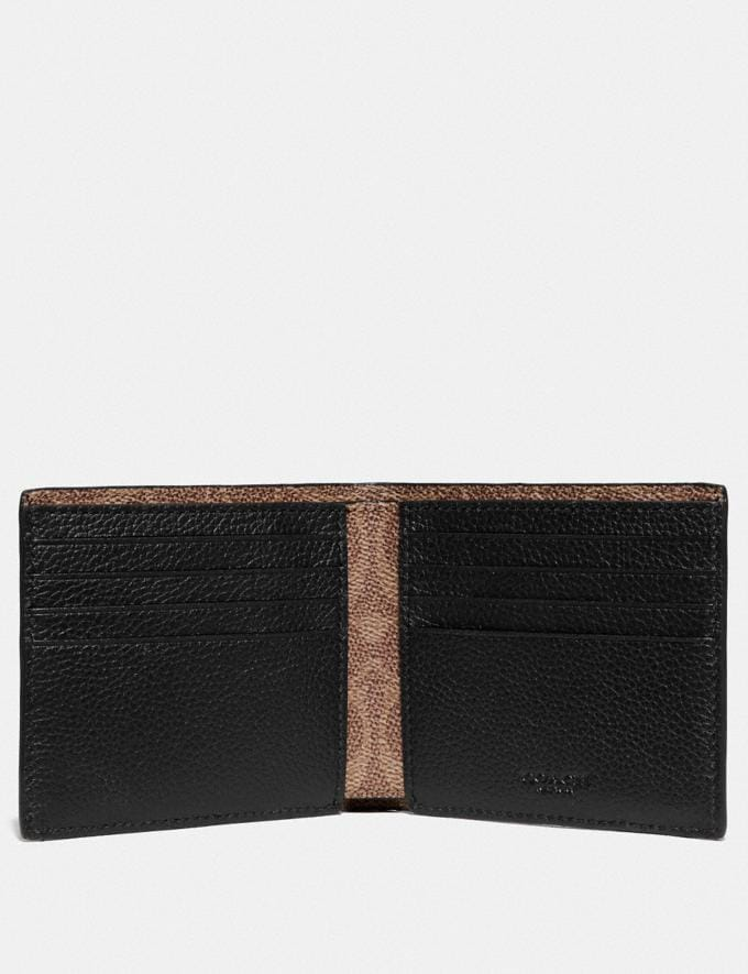 Coach Double Billfold Wallet With Signature Canvas Blocking Black/Khaki Men Wallets Alternate View 1