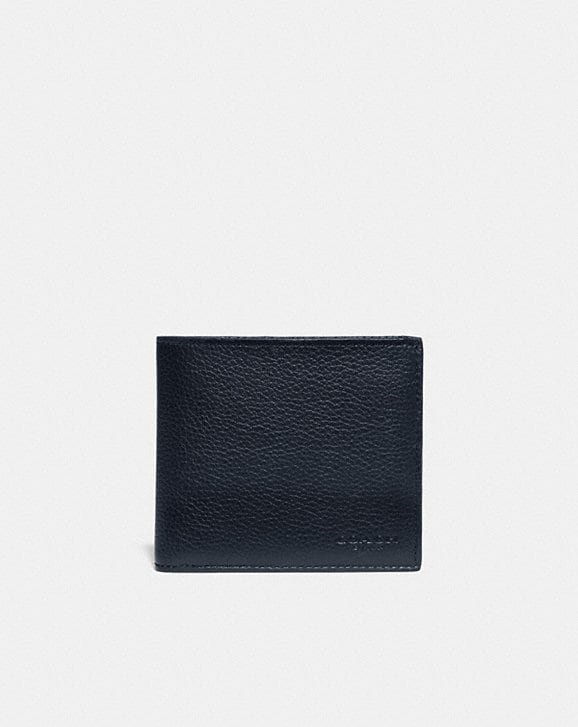 Coach DOUBLE BILLFOLD WALLET WITH SIGNATURE CANVAS BLOCKING
