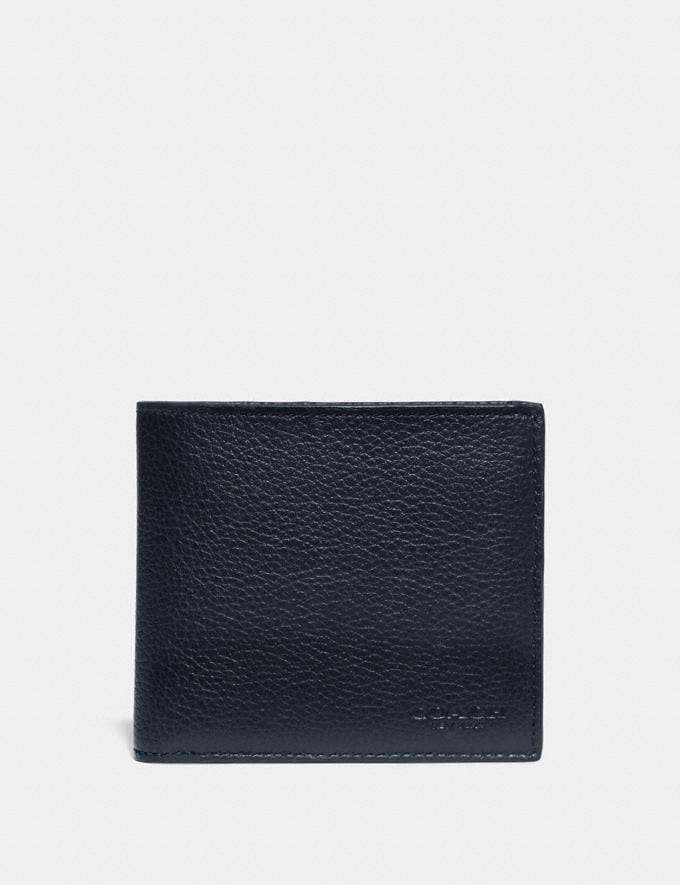 Coach Double Billfold Wallet With Signature Canvas Blocking Midnight/Charcoal Men Wallets