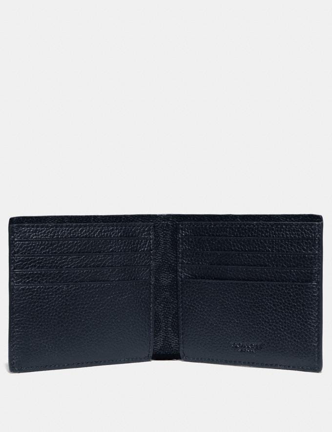 Coach Double Billfold Wallet With Signature Canvas Blocking Midnight/Charcoal Men Wallets Billfolds Alternate View 1