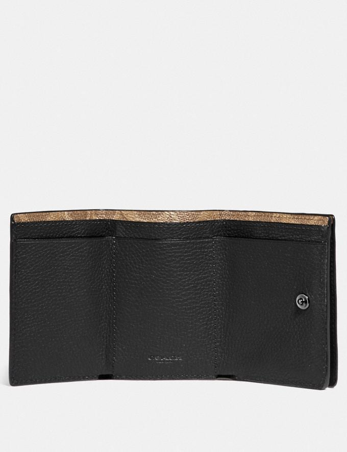 Coach Trifold Origami Coin Wallet With Signature Canvas Blocking Black New Men's New Arrivals Wallets Alternate View 1