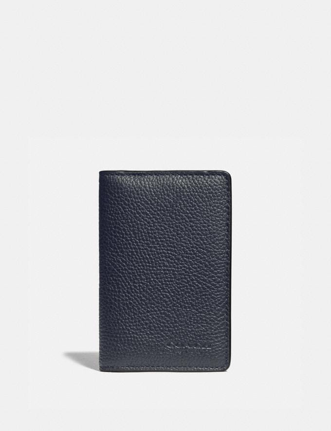Coach Card Wallet With Signature Canvas Blocking Midnight/Charcoal New Men's New Arrivals