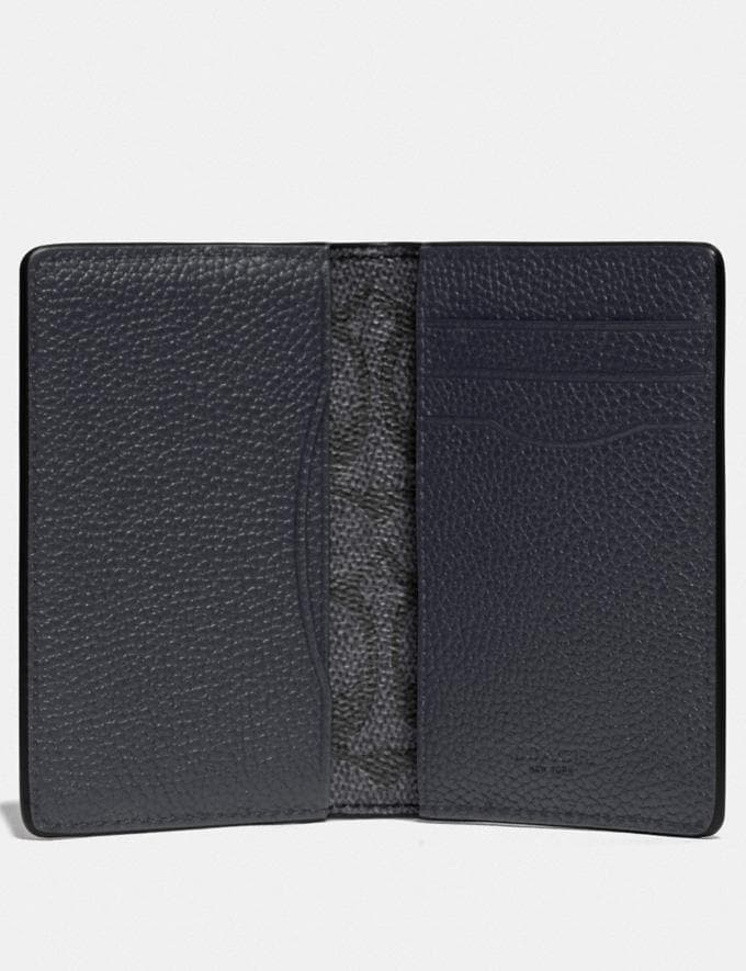 Coach Card Wallet With Signature Canvas Blocking Midnight/Charcoal New Men's New Arrivals Alternate View 1