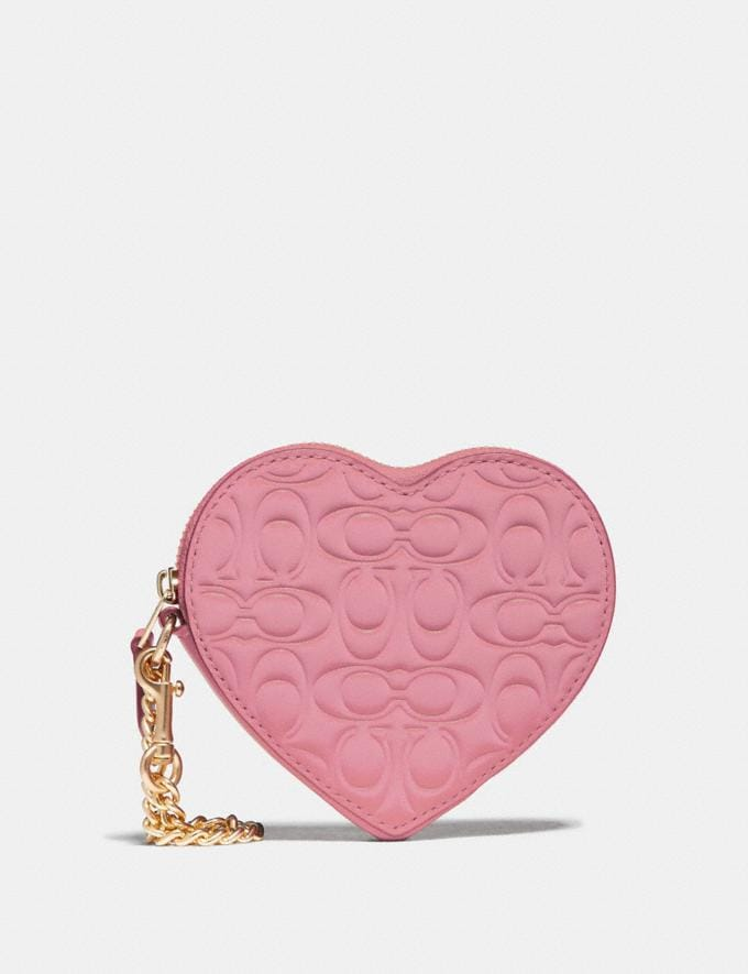 Coach Heart Coin Case in Signature Leather True Pink/Gold Women Wallets & Wristlets Small Wallets
