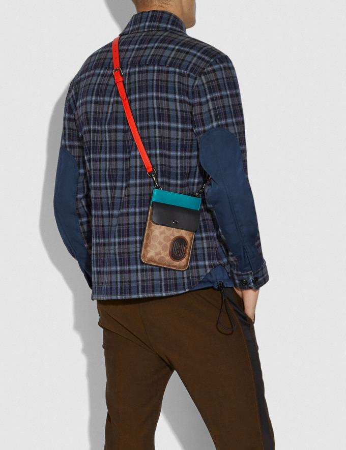 Coach Hybrid Pouch With Signature Canvas Blocking and Coach Patch Tan Signature Multi Men Bags Pouches Alternate View 2