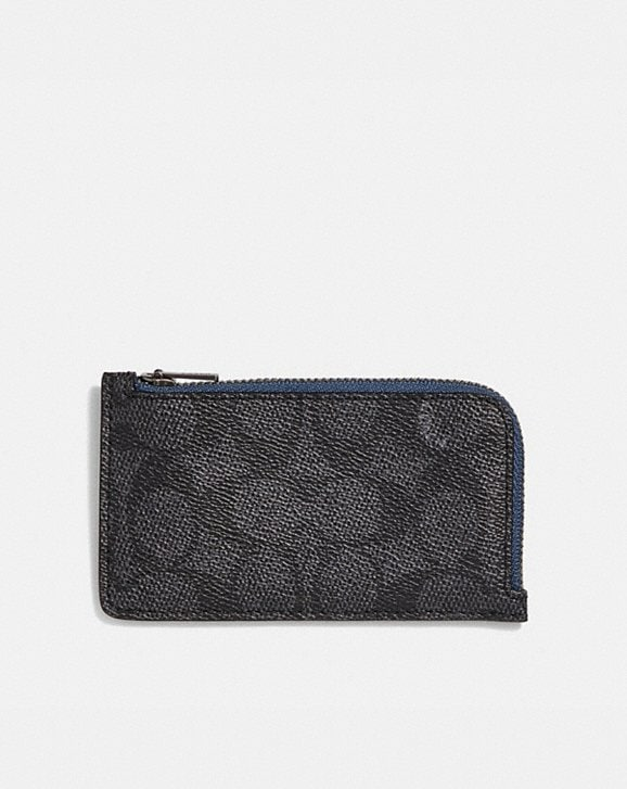 Coach L-ZIP CARD CASE WITH SIGNATURE CANVAS BLOCKING