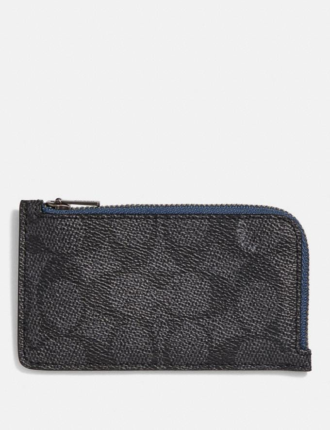 Coach L-Zip Card Case With Signature Canvas Blocking Charcoal Signature Multi Women Wallets & Wristlets Small Wallets