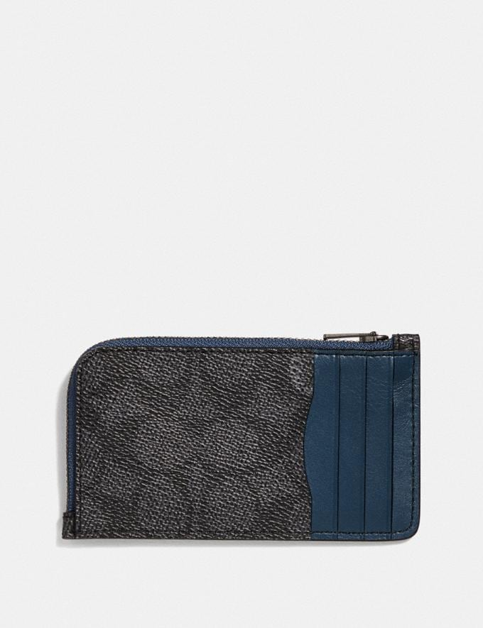 Coach L-Zip Card Case With Signature Canvas Blocking Charcoal Signature Multi Men Wallets Card Cases Alternate View 1