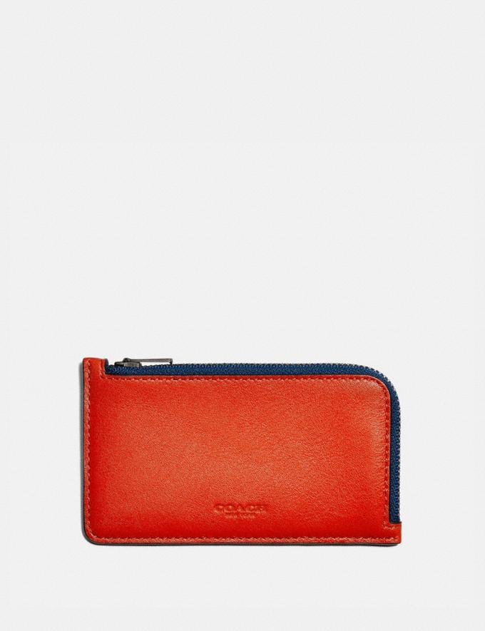 Coach L-Zip Card Case in Colorblock Red Orange Multi New Men's New Arrivals Wallets