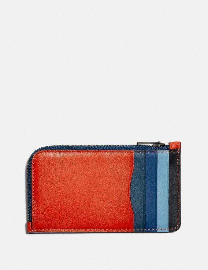 Coach L-Zip Card Case in Colorblock Red Orange Multi New Men's New Arrivals Wallets Alternate View 1