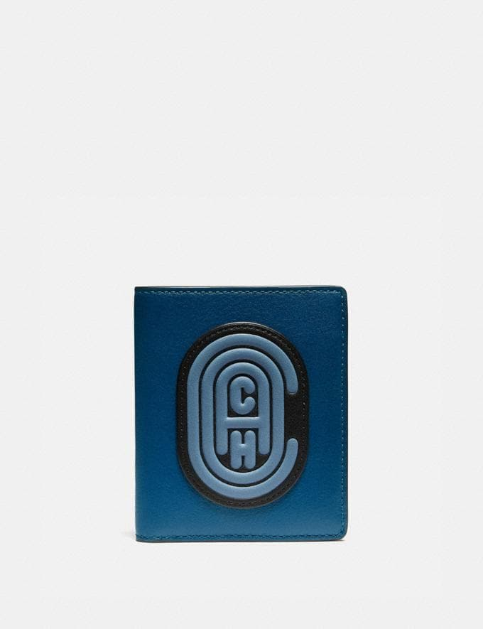 Coach Slim Wallet in Colorblock With Coach Patch True Blue Multi New Men's New Arrivals