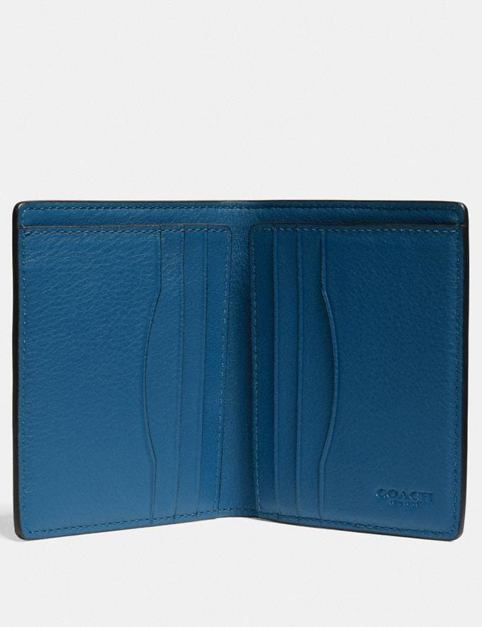 Coach Slim Wallet in Colorblock With Coach Patch True Blue Multi Men Wallets Billfolds Alternate View 1