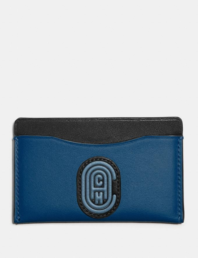 Coach Small Card Case in Colorblock With Coach Patch True Blue Multi Men Wallets Card Cases