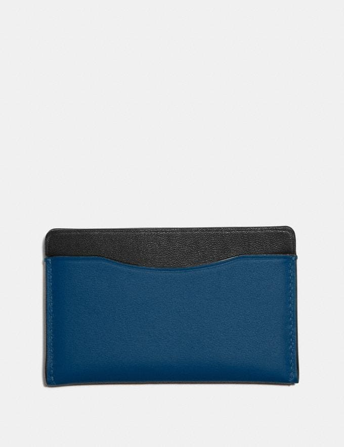 Coach Small Card Case in Colorblock With Coach Patch True Blue Multi Men Wallets Card Cases Alternate View 1