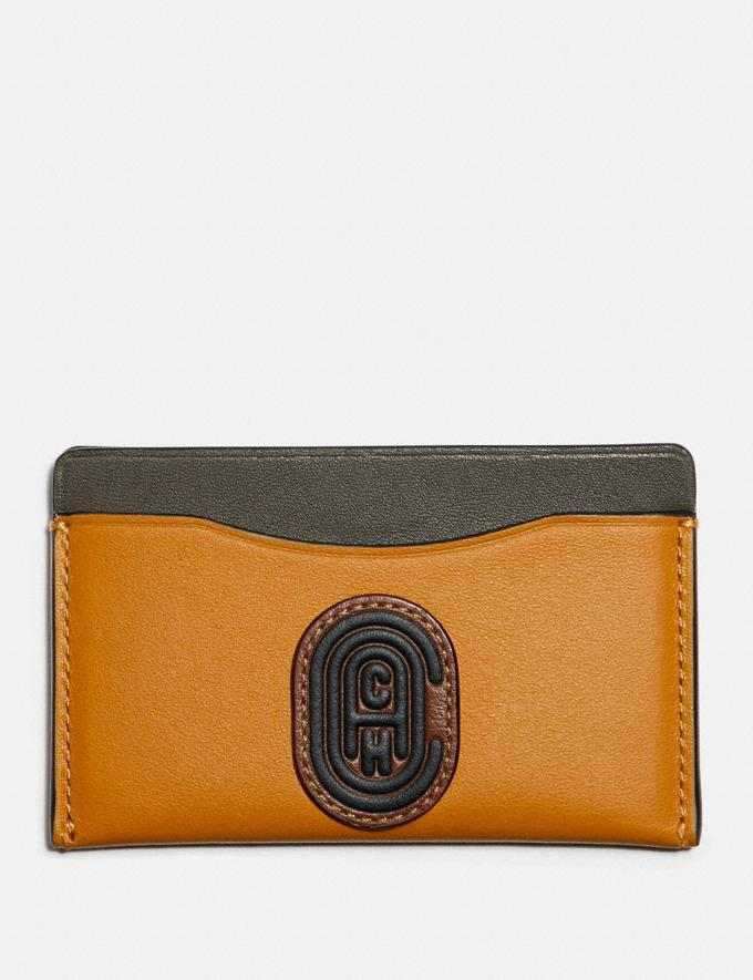 Coach Small Card Case in Colorblock With Coach Patch Dark Honey Multi New Men's New Arrivals Wallets