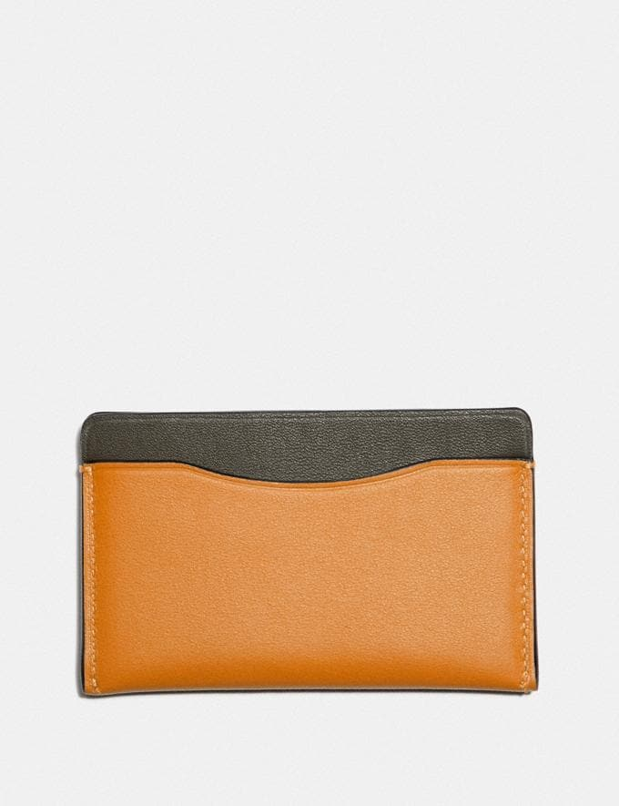 Coach Small Card Case in Colorblock With Coach Patch Dark Honey Multi New Men's New Arrivals Wallets Alternate View 1