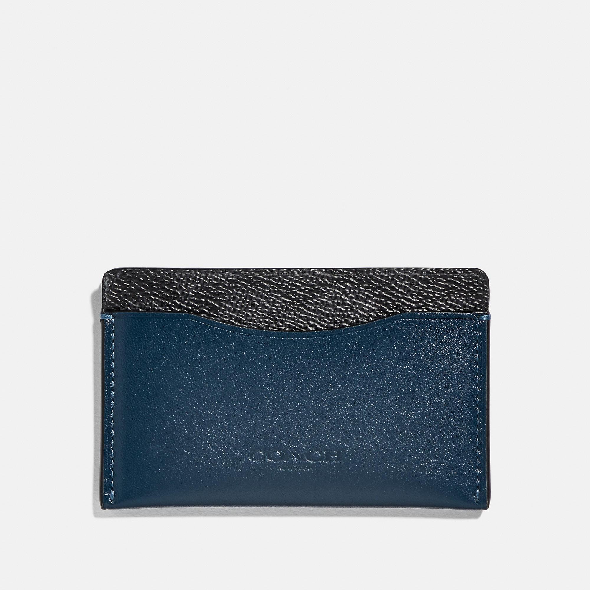 f60d101c5e Coach Small Card Case With Signature Canvas Blocking - Men's in Charcoal  Signature Multi