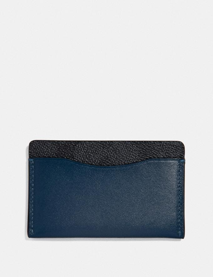 Coach Small Card Case With Signature Canvas Blocking Charcoal Signature Multi Men Wallets Card Cases Alternate View 1