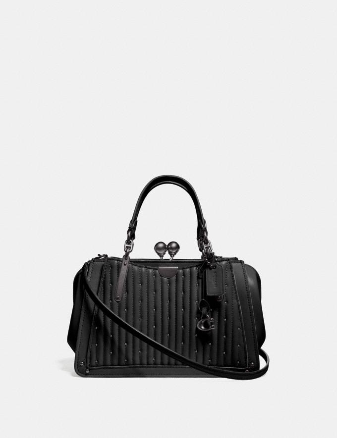 Coach Kisslock Dreamer 21 With Quilting and Rivets Black/Pewter New Featured Women New Top Picks