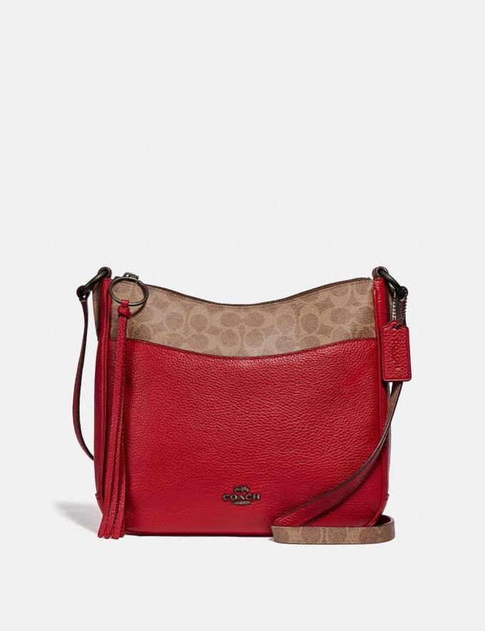 Coach Chaise Crossbody With Signature Canvas Blocking Tan Red Apple/Pewter Women Bags Crossbody Bags