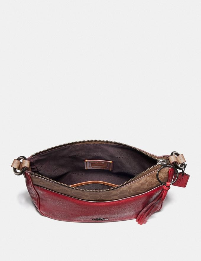 Coach Chaise Crossbody With Signature Canvas Blocking Tan Red Apple/Pewter Women Bags Crossbody Bags Alternate View 3
