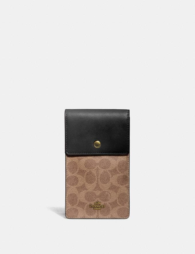 Coach Snap Phone Crossbody in Signature Canvas Brass/Tan Black Women Wallets & Wristlets Crossbody Wallets