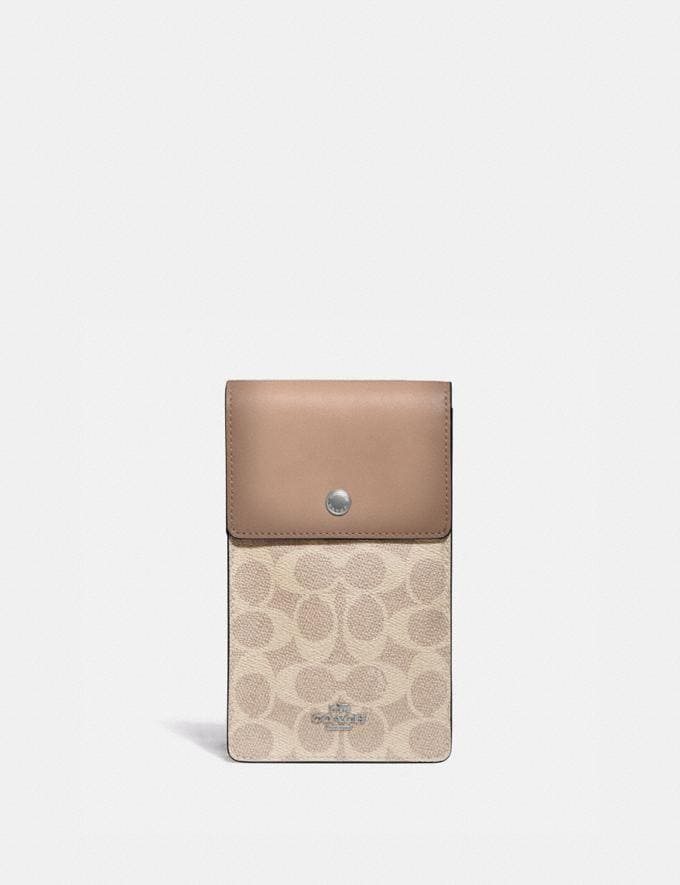 Coach Snap Phone Crossbody in Signature Canvas Light Nickel/Sand Taupe Women Collection Signature
