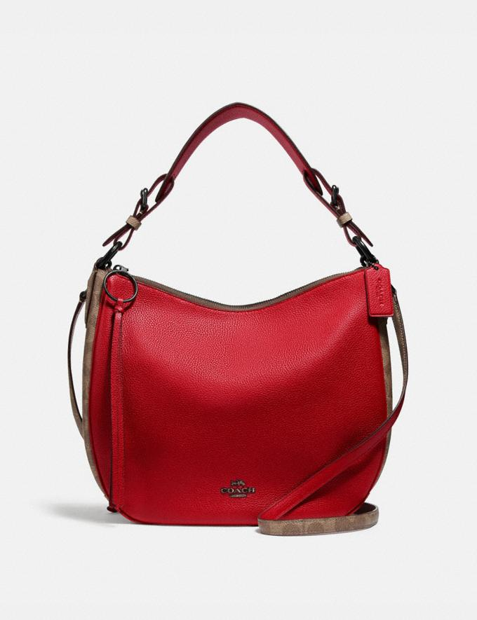 Coach Sutton Hobo With Signature Canvas Blocking Pewter/Tan Red Apple Women Bags Shoulder Bags