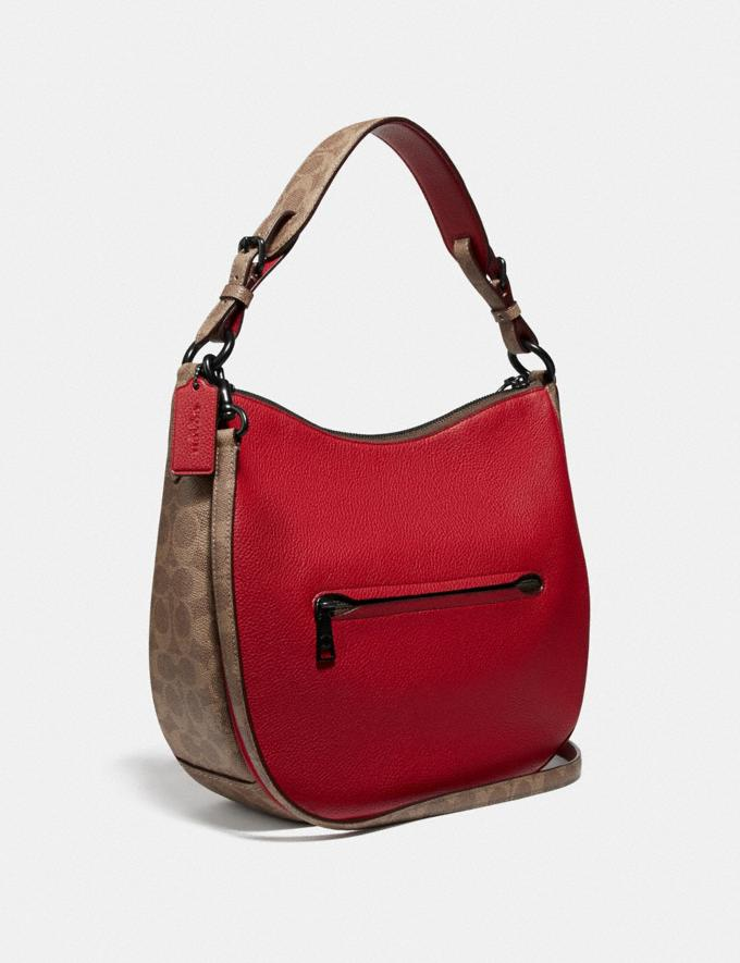 Coach Sutton Hobo With Signature Canvas Blocking Pewter/Tan Red Apple Women Bags Shoulder Bags Alternate View 1