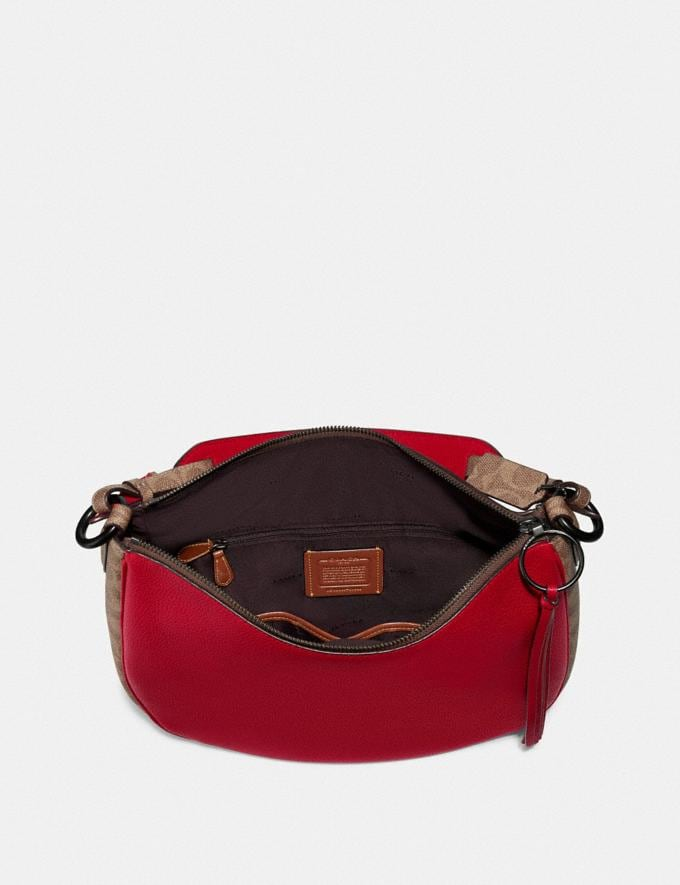 Coach Sutton Hobo With Signature Canvas Blocking Pewter/Tan Red Apple Women Bags Shoulder Bags Alternate View 2