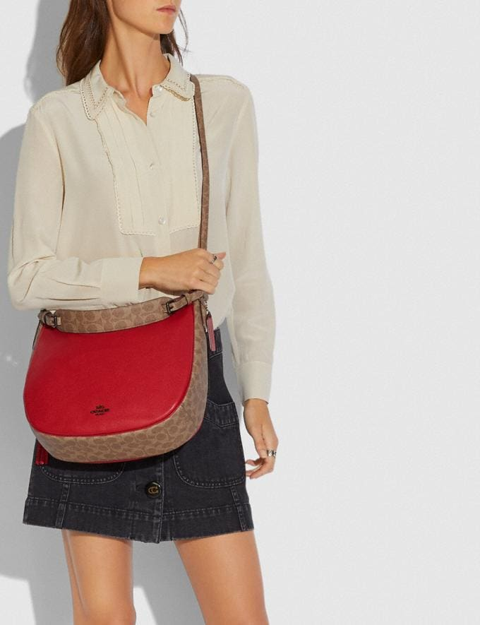 Coach Sutton Hobo With Signature Canvas Blocking Pewter/Tan Red Apple Women Bags View All Alternate View 3