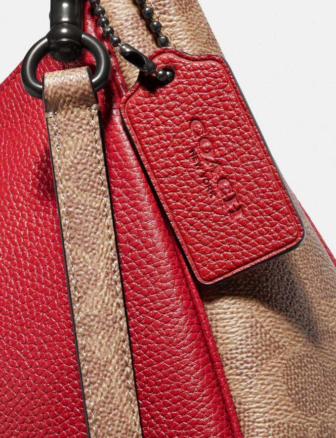 Coach Sutton Hobo With Signature Canvas Blocking Pewter/Tan Red Apple Women Bags View All Alternate View 4