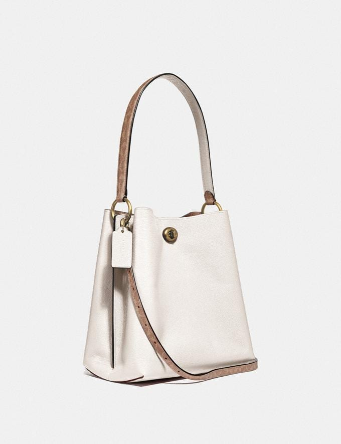 Coach Charlie Bucket Bag With Signature Canvas Blocking B4/Tan Chalk Women Bags Signature Bags Alternate View 1