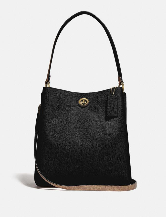Coach Charlie Bucket Bag With Signature Canvas Blocking Brass/Tan Black Women Bags Shoulder Bags