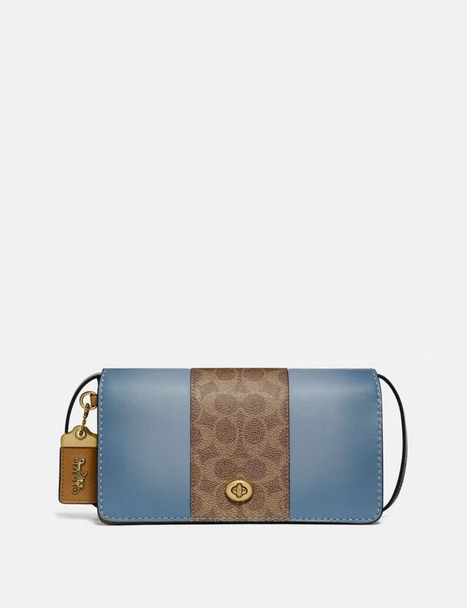 Coach Dinky With Signature Canvas Blocking Brass/Tan Mist Women Bags Crossbody Bags