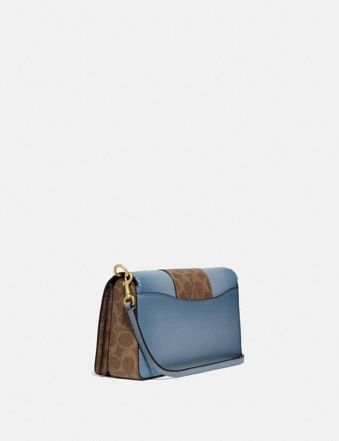 Coach Dinky With Signature Canvas Blocking Brass/Tan Mist Women Bags Crossbody Bags Alternate View 1