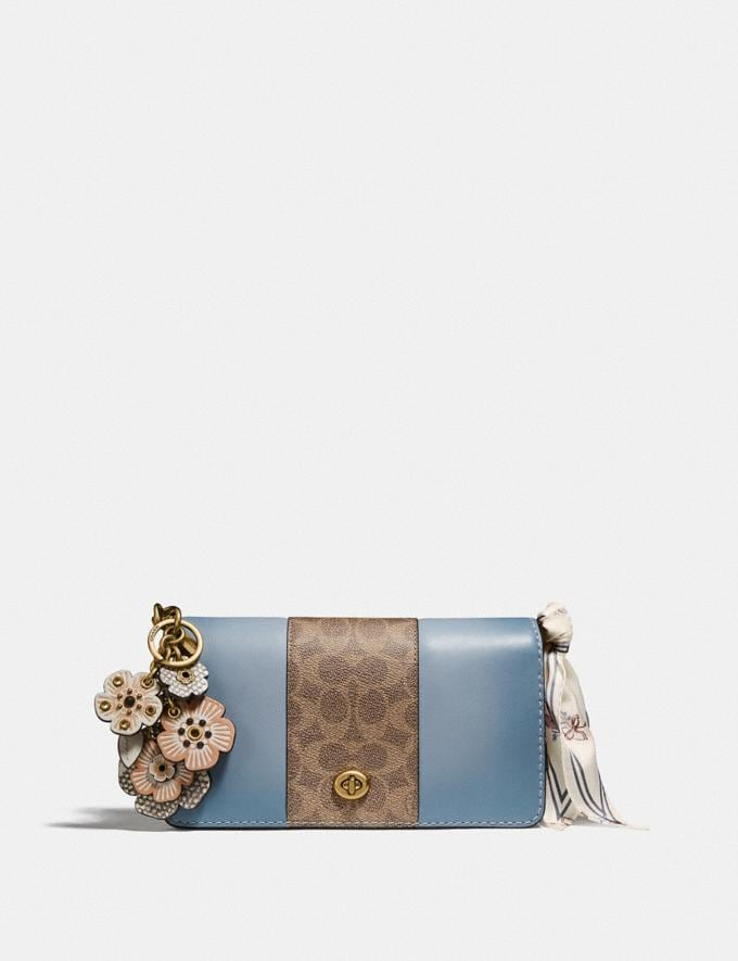 Coach Dinky With Signature Canvas Blocking Brass/Tan Mist Women Bags Crossbody Bags Alternate View 3