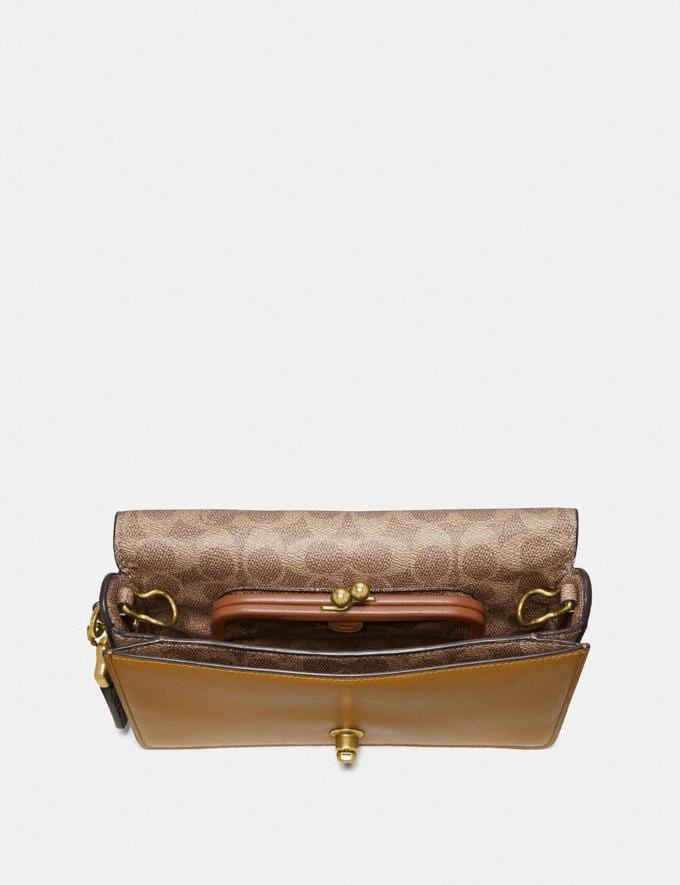 Coach Dinky With Signature Canvas Blocking Brass/Tan Mist Women Bags Crossbody Bags Alternate View 2