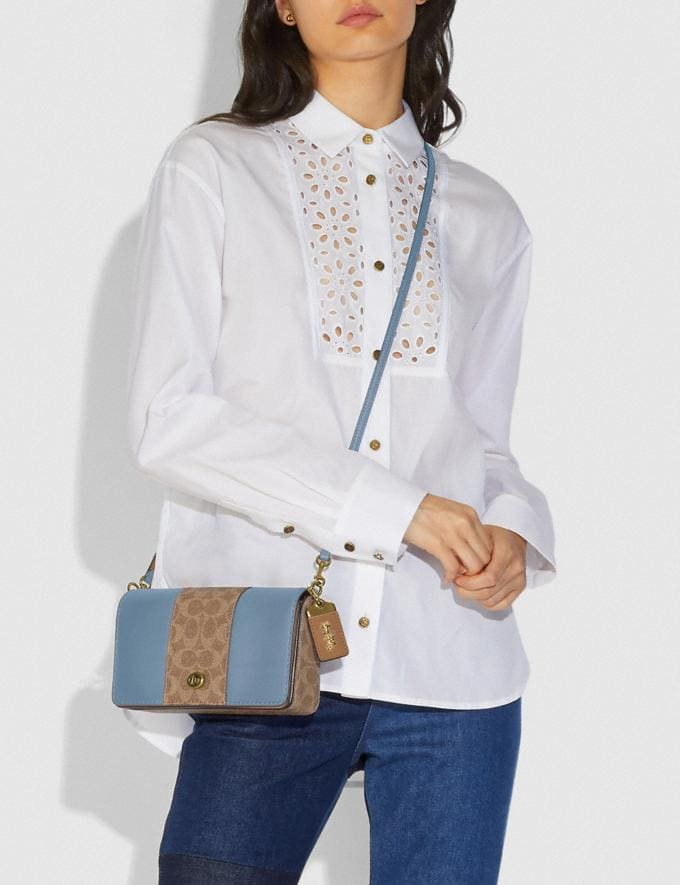 Coach Dinky With Signature Canvas Blocking Brass/Tan Mist Women Bags Crossbody Bags Alternate View 4