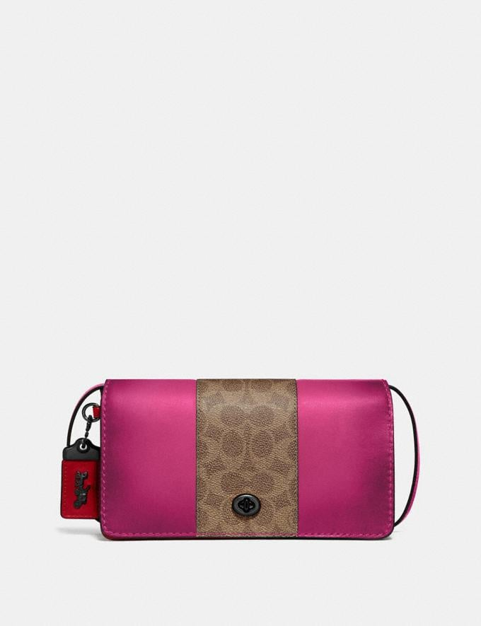 Coach Dinky With Signature Canvas Blocking Pewter/Tan Bright Pink Women Bags Crossbody Bags
