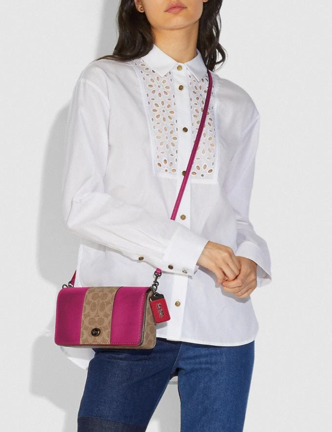 Coach Dinky With Signature Canvas Blocking Pewter/Tan Bright Pink Women Bags Crossbody Bags Alternate View 4
