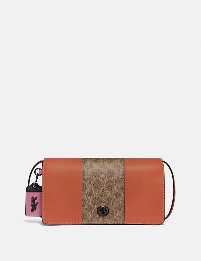 Coach Dinky With Signature Canvas Blocking Pewter/Tan Sunset Women Handbags Crossbody Bags