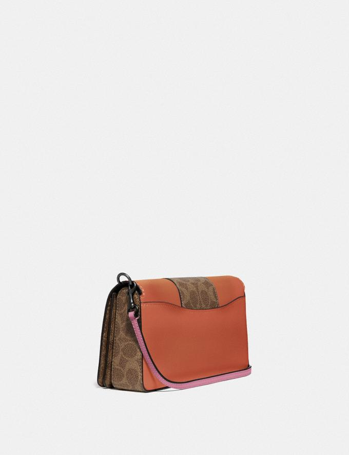 Coach Dinky With Signature Canvas Blocking Pewter/Tan Sunset Women Handbags Crossbody Bags Alternate View 1