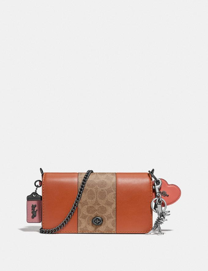 Coach Dinky With Signature Canvas Blocking Pewter/Tan Sunset Women Handbags Crossbody Bags Alternate View 3