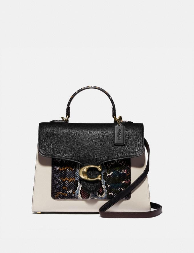 Coach Tabby Top Handle in Colorblock Snakeskin Brass/Black Multi Women Bags Satchels