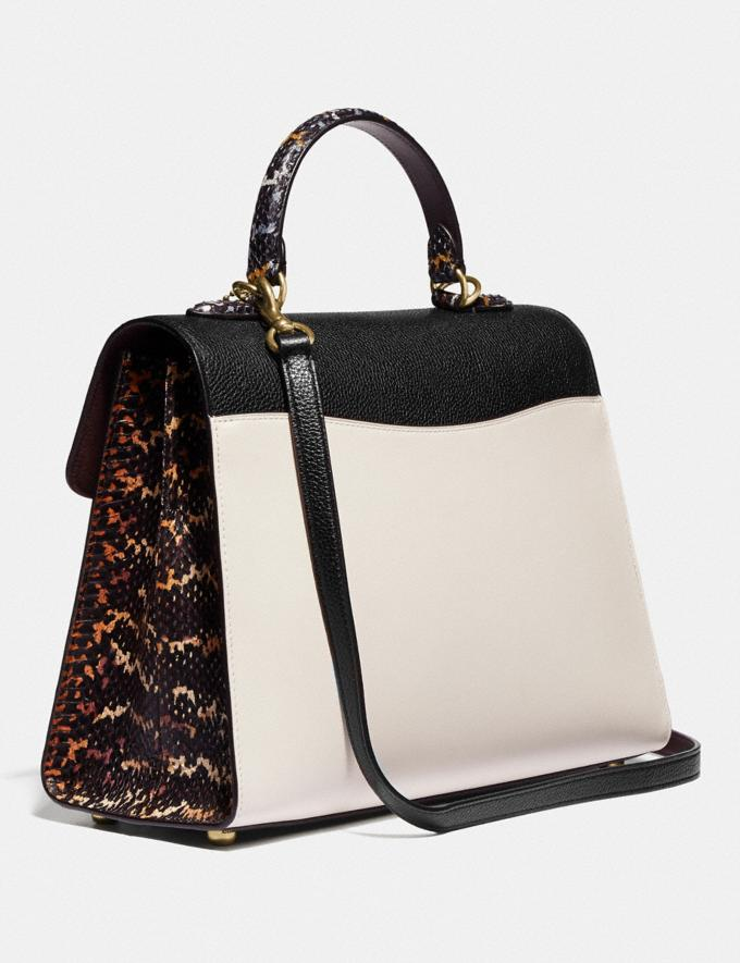 Coach Tabby Top Handle in Colorblock Snakeskin Brass/Black Multi Women Bags Satchels Alternate View 1