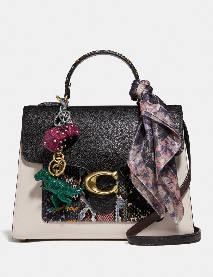 Coach Tabby Top Handle in Colorblock Snakeskin Brass/Black Multi Women Handbags Crossbody Bags Alternate View 3
